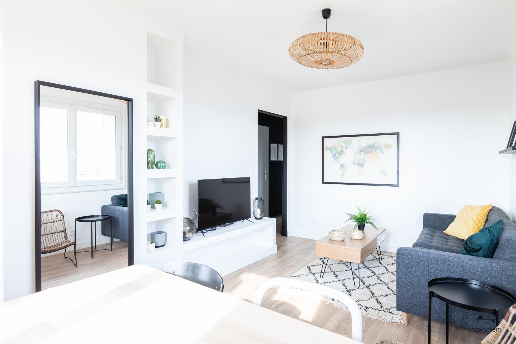 Novaclem - Salon après travaux Coloc Galinat - Investissement Marseille