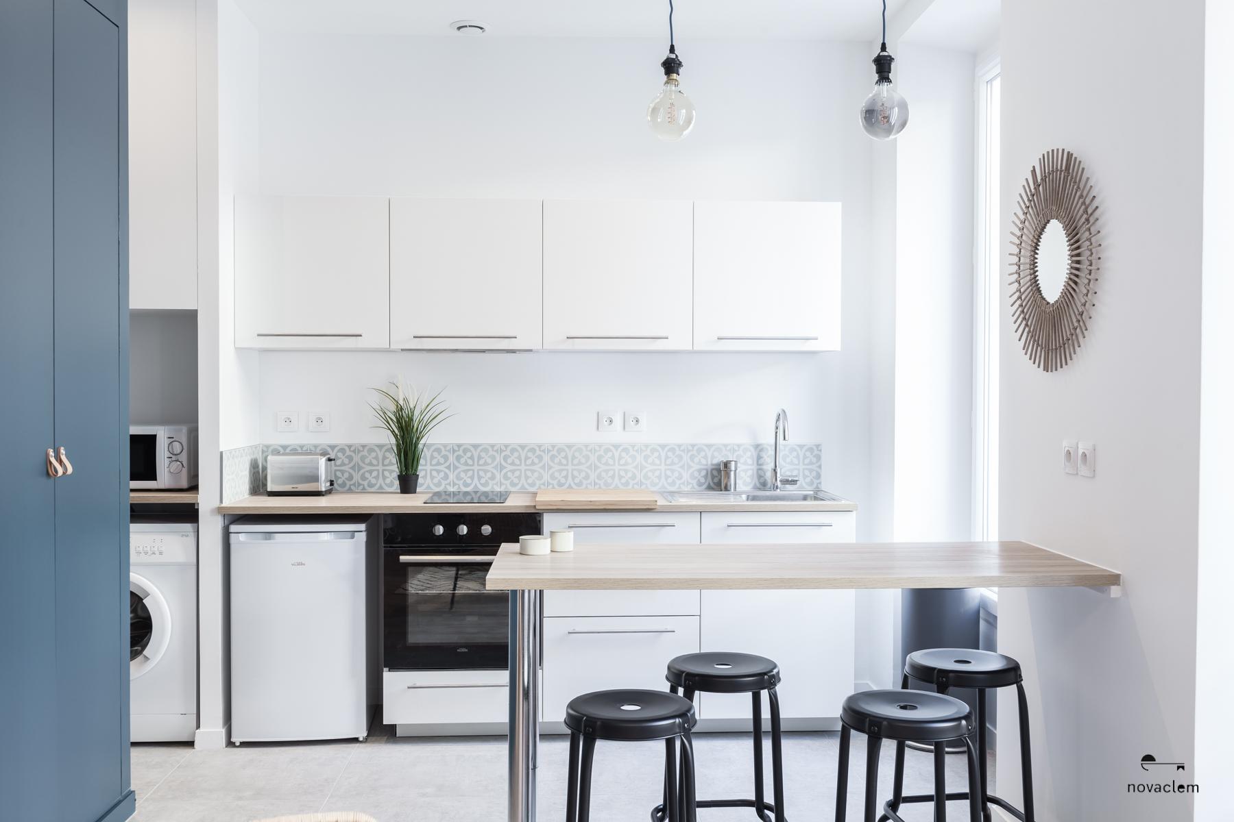 Novaclem - cuisine après travaux Mini loft Camas - Investissement Marseille