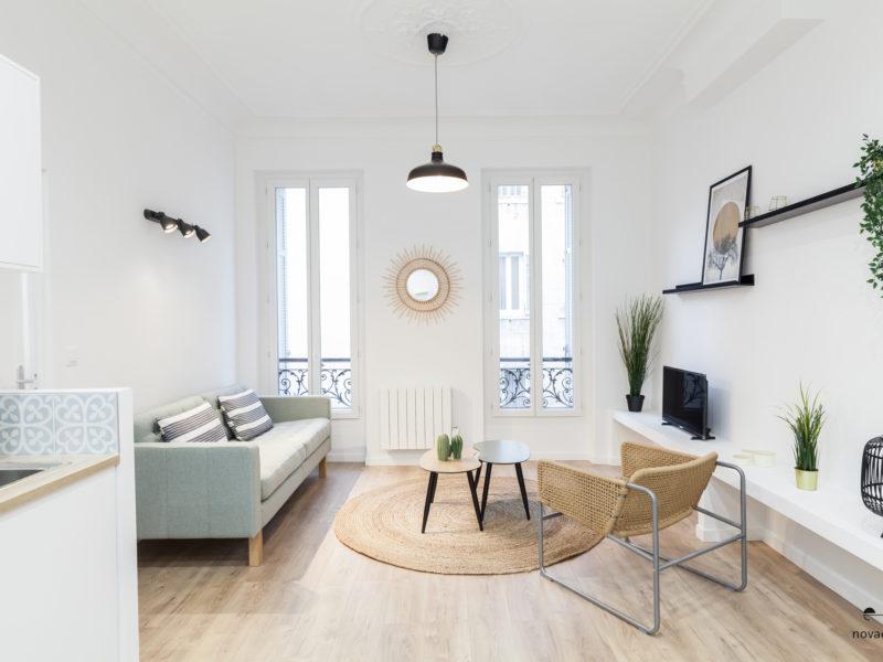 Novaclem - salon 3 après travaux T2 Maille - Investissement Marseille