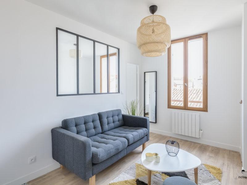 Novaclem - salon 3 après travaux T2 Château du Murier - Investissement Marseille