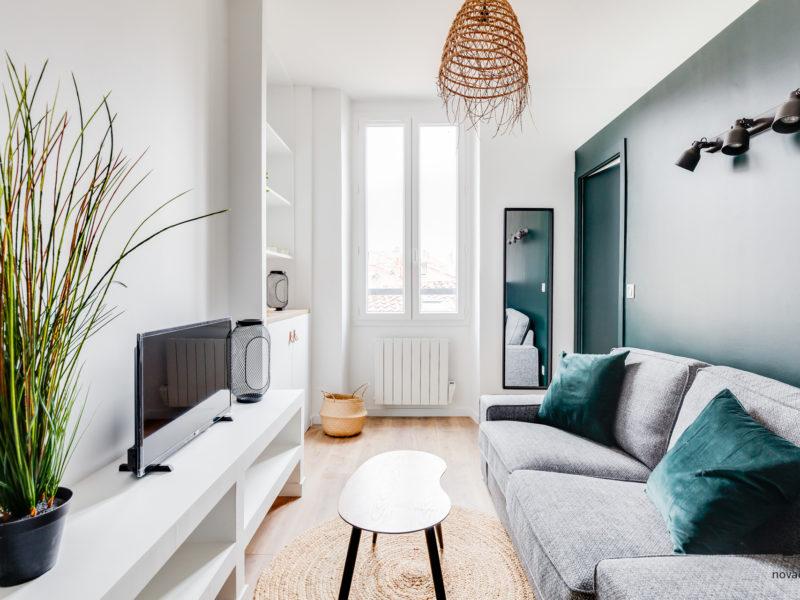 Novaclem - salon après travaux Roger Brun - Investissement Marseille